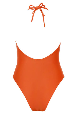 A128# Orange Solid Deep Plunge Backless High Cut One Piece Swimsuit * - Cobunny