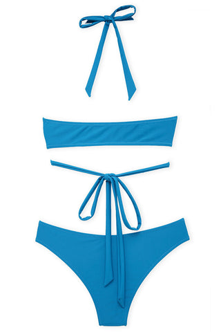 A194# Blue Solid Lace Up High Neck Halter Bikini Set * - Cobunny