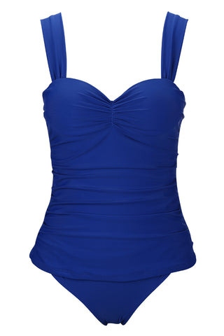 A183# Royal Blue Ruched Wide Strap Push Up Underwire Bikini Set *(没有库存) - Cobunny