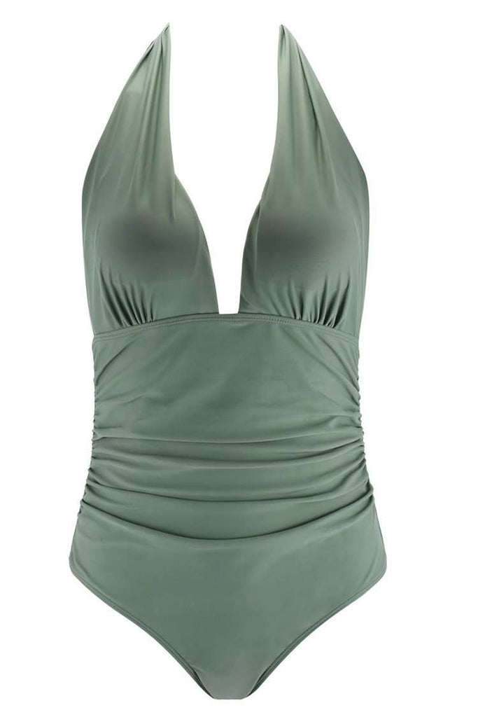 A166# Army Green Solid Ruched Deep Plunge Halter One Piece Swimsuit * - Cobunny