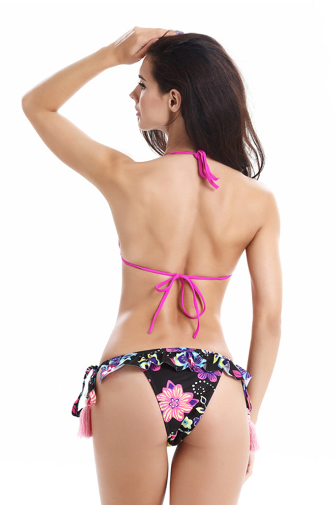 FB770# Rose Red Ruffle Strappy Tassel Triangle Halter Top & Floral Print Bottom * - Cobunny