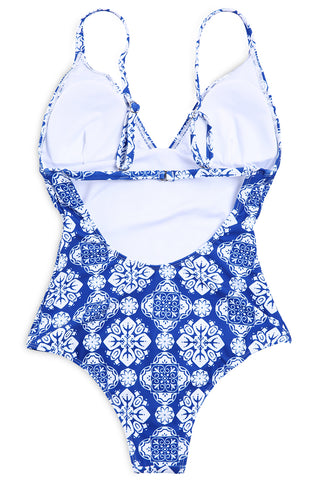 A153# Snowflake Pattern V Neck One Piece Swimsuit * - Cobunny