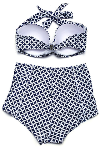 GK017# Hollow Out Circle Print Push Up Balconette Halter High Waist Bikini Set * - Cobunny