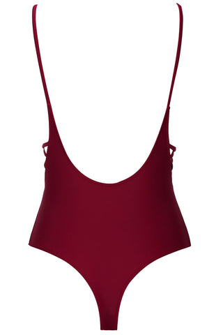 A088# Wine Red Solid Plunge Cross Front Backless One Piece Swimsuit* - Cobunny