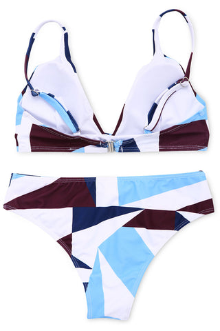 A212# Color Block Geometric Print Plunge Bikini Set* - Cobunny