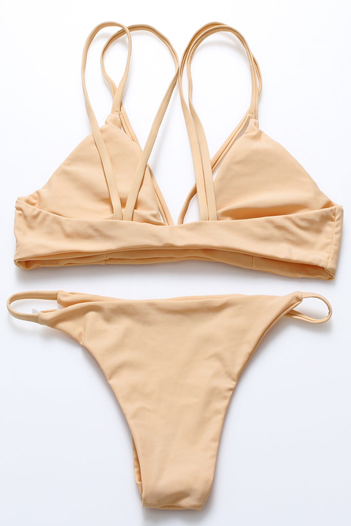 FB860# Classic Reversible Solid Strappy Low Rise Bralette Bikini Set * - Cobunny