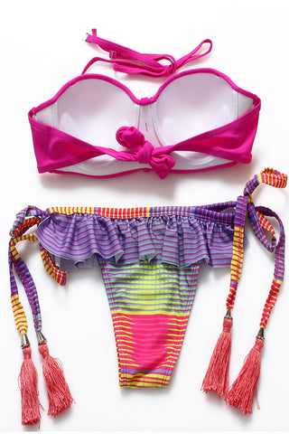 Rose Red Ruffle Tassel Push Up Balconette Top & Multicolor Striped Bottom - Cobunny