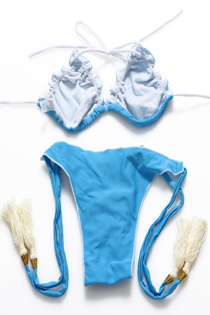 FB777# Light Blue Ruffle Strappy Ruched Tassel Triangle Halter Bikini Set * - Cobunny