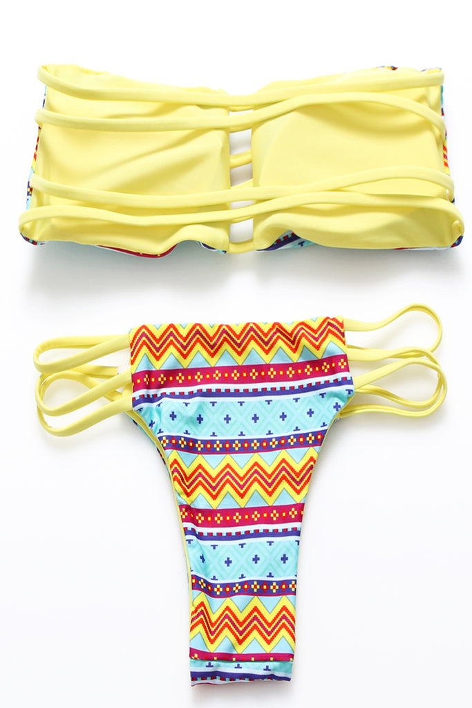 FB666# Chevron Reversible Strappy Cut Out Bandeau Bikini Set * - Cobunny