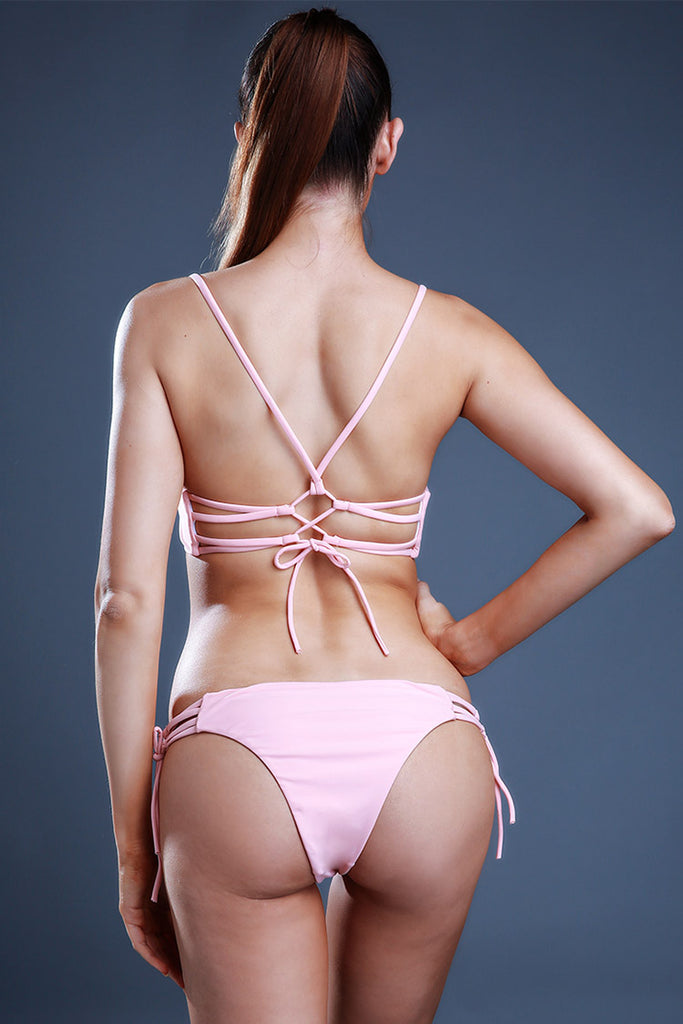 FB871# Nude Solid Strappy Lace Up Bralette Thong Bikini Set * - Cobunny