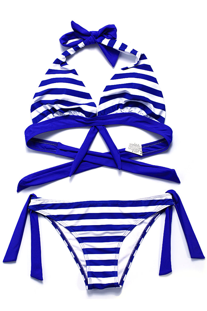 Striped Front Bow Halter Bikini Set - Cobunny