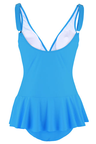 A040# Light Blue Plunge Ruched Skirt One Piece Swimsuit*(没有库存) - Cobunny