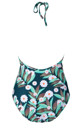 A292# Leaves & Flowers Print Lace Up Deep Plunge Backless One Piece Swimsuit *(没有库存) - Cobunny