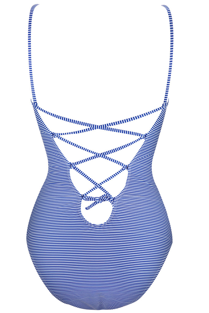 1A142# Blue Striped Strappy Back Bandeau One Piece Swimsuit * - Cobunny
