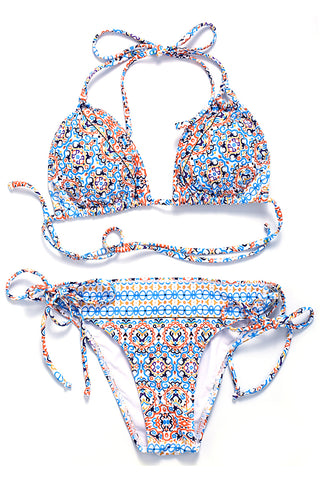 Cute Abstract Pattern Print Strappy Triangle Halter Bikini Set - Cobunny