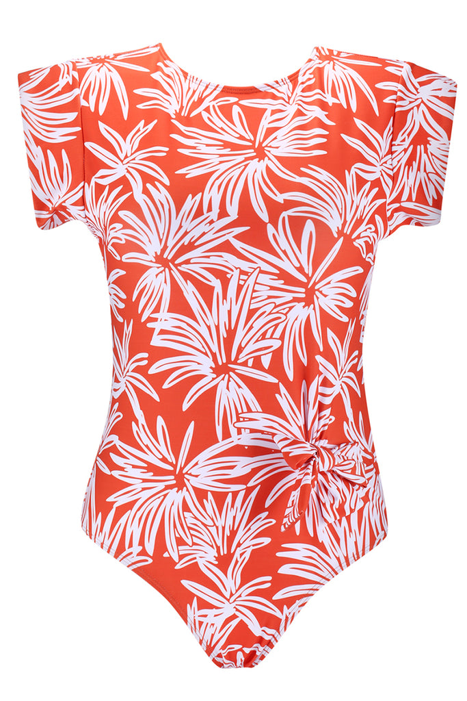 A145# Orange Tropical Flowers Print Crew Neck Short Sleeve One Piece Swimsuit * - Cobunny