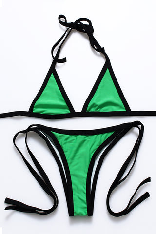FB814# Contrast Trim Strappy Triangle Brazilian Bikini Set * - Cobunny