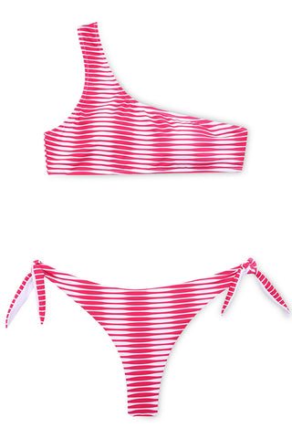 A114# Pink Wave Pattern Print One Shoulder Bikini Set * - Cobunny