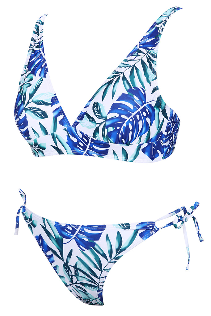 A020# Blue & Green Leaves Print Bralette Cheeky Coverage Bikini Set* - Cobunny