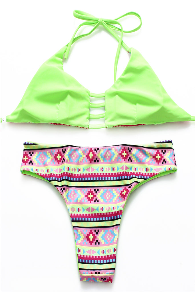 FB667# Light Green Digital Pattern Print Reversible Cut Out Bralette Halter Bikini Set * - Cobunny