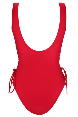 A286# Red Crisscross Lace Up Deep Plunge One Piece Swimsuit *(没有库存) - Cobunny