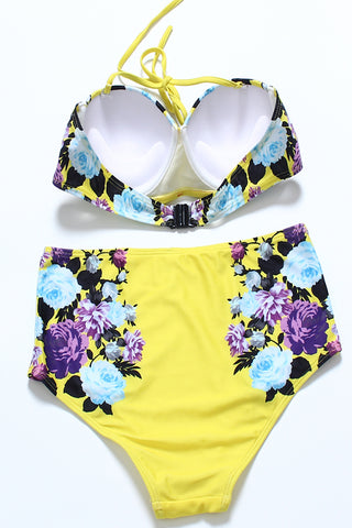 FB618# Purple Roses Blooming Print Push Up Balconette Halter Bikini Set * - Cobunny