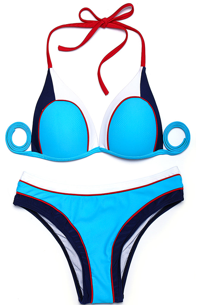 Multicolor Contrast Trim Push Up Triangle Halter Bikini Set - Cobunny