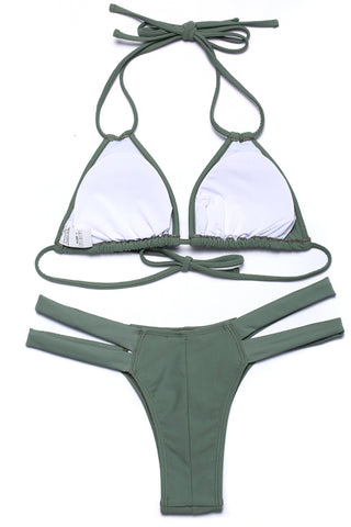 Solid Color Cut Out Triangle Halter Bikini Set - Cobunny