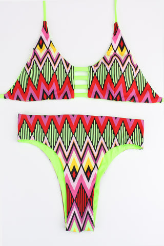 FB667# Tropical Tribal Print Reversible Cut Out Bralette Halter Bikini Set * - Cobunny