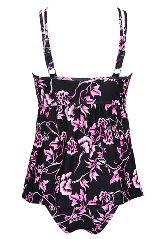 A171# Purple Lily Flower Print Mesh Panel High Neck Tankini Set * - Cobunny