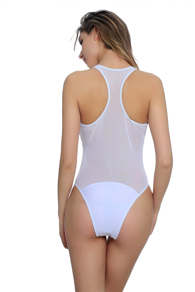 FB703# White Mesh Panel Racerback Tank High Cut One Piece Swimsuit * - Cobunny