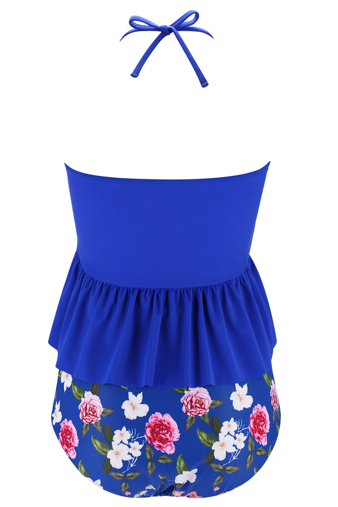 A283# Blue Ruffle Bandeau Halter Tankini Top & Flowers Print High Waist Bottom * - Cobunny
