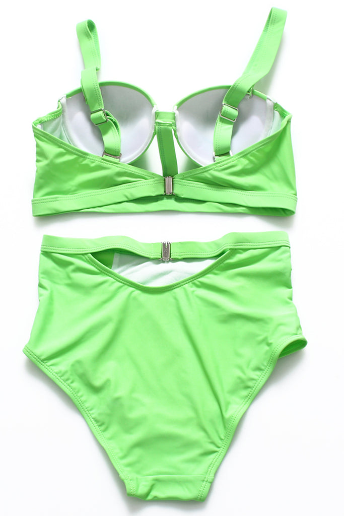 FB611# Light Green Cutout Push Up Balconette Halter High Waist Bikini Set * - Cobunny