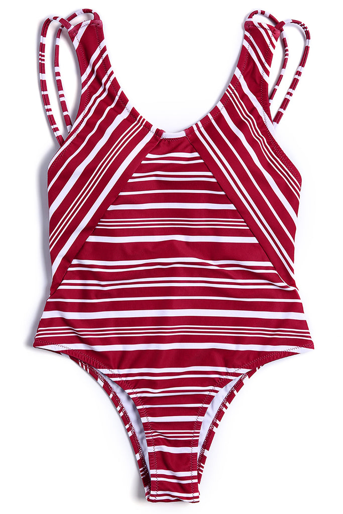 A358# Red Striped Double Shoulder Strap Open Back One Piece Swimsuit * - Cobunny