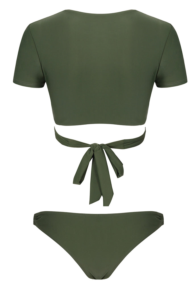e5ba42a41e A069# Army Green Solid Wrap Short Sleeve Bikini Set* – Cobunny ...