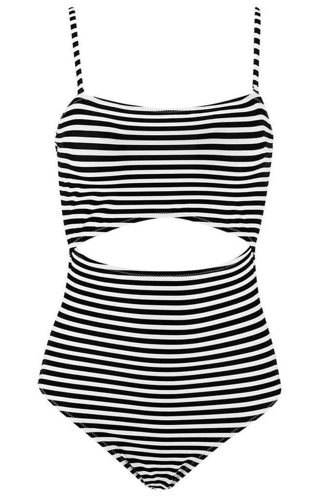 1A291# Black Striped Cutout Self Tie Bow Bandeau Monokini* - Cobunny