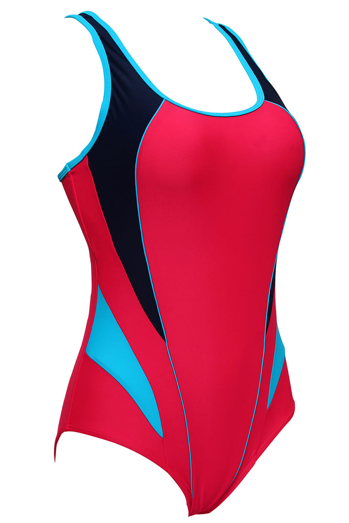 FB983# Multicolor Contrast Trim Racerback Tank One Piece Swimsuit * - Cobunny