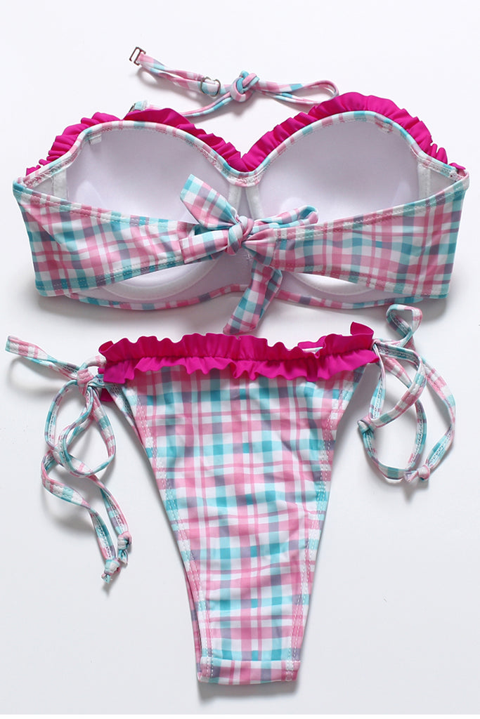 FB821# Pink & Skyblue Grids Ruffle Tassel Push Up Balconette Halter Bikini Set * - Cobunny