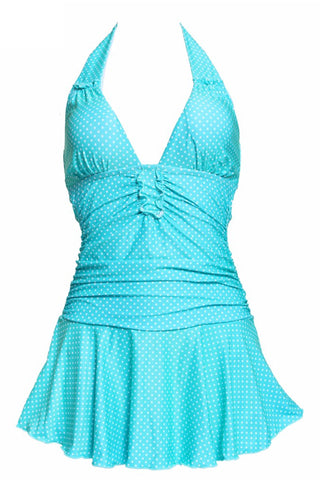 GK025# lunge Ruched Halter Skirted One Piece Swimwear * - Cobunny