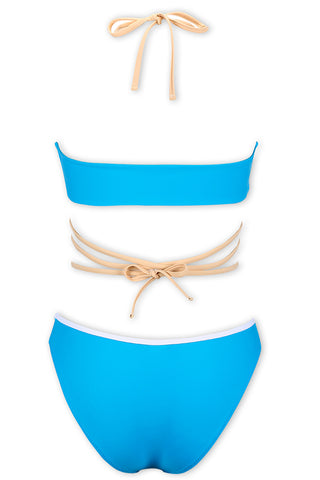 A201# Blue Lace Up High Neck Halter Bikini Set * - Cobunny
