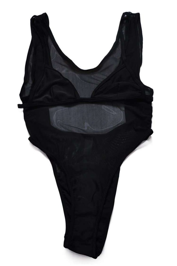 FB785# Black Mesh High Cut One Piece Swimsuit * - Cobunny