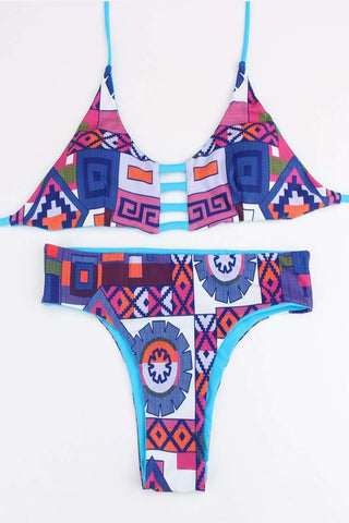 FB667# Tribal Reversible Cut Out Bralette Halter Bikini Set * - Cobunny