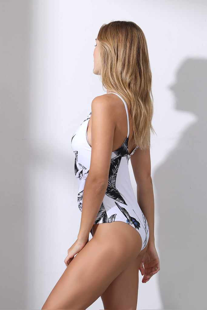 A130# Leaves & Birds Print Plunge Tie Side One Piece Swimsuit * - Cobunny