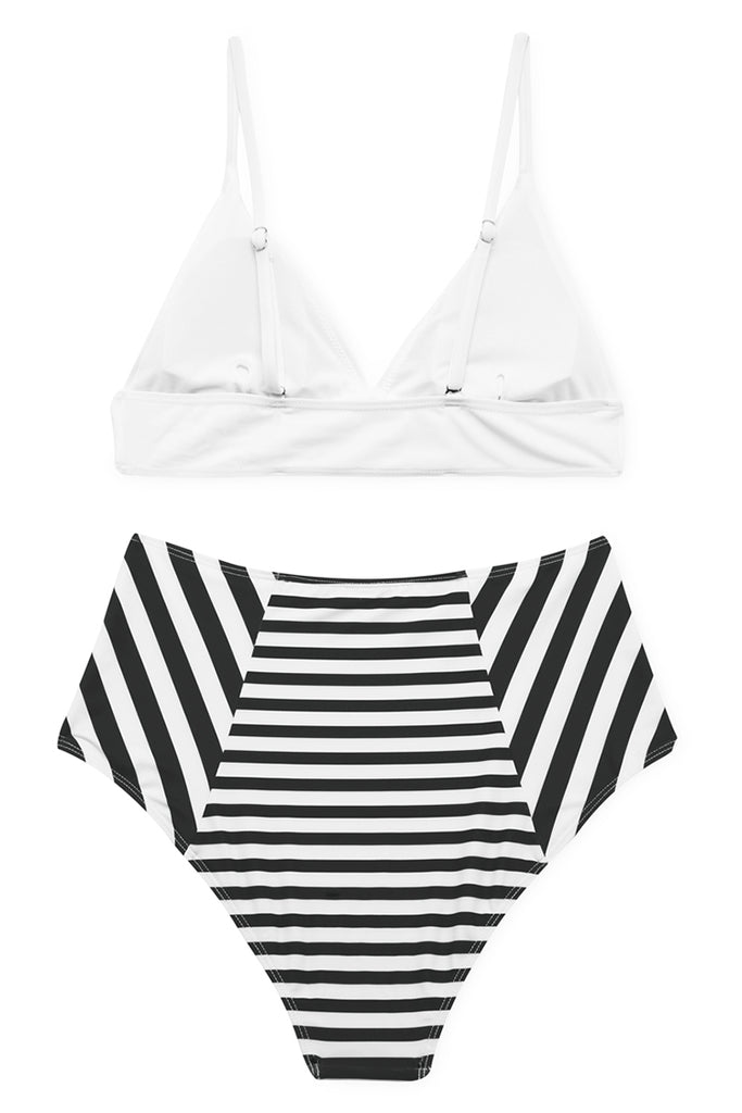 A035# White Bralette Top & Striped High Waist Bottom* - Cobunny