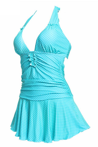 Polka Dot Plunge Ruched Halter Skirted One Piece Swimwear - Cobunny