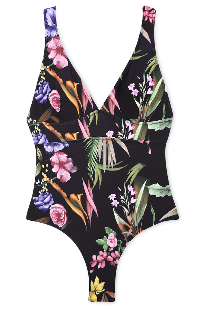 A021# Flowers Print Back Hook Closure Halter One Piece Swimsuit* - Cobunny