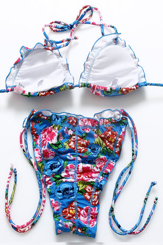 FB858# Colorful Flowers Ruffle Strappy Side Ties Ruched Triangle Halter Bikini Set * - Cobunny