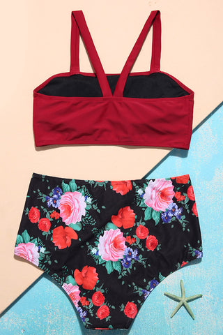 A316# Wine Red Square Neck Top & Floral High Waist Bottom * - Cobunny