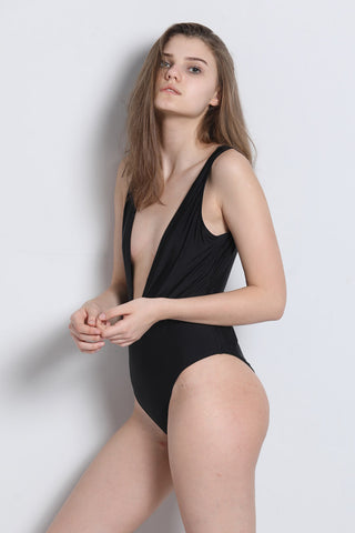 A119# Black Solid Deep Plunge Wide Shoulder Strap One Piece Swimsuit * - Cobunny