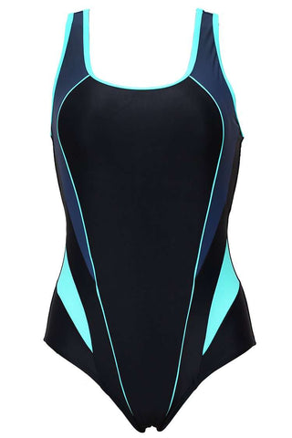 FB983# Triple Colors Contrast Trim Racerback Tank One Piece Swimsuit * - Cobunny